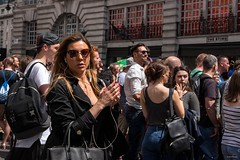 The Sting (Silver Machine) Tags: london regentstreet streetphotography street streetportrait candid candideyecontact girl phone earphones sunglasses handbag fujifilm fujifilmxt10 fujinonxf35mmf2rwr