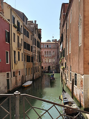 Gondola, Venice 2 (bikerchisp) Tags: venice italy ital italia venise canals lagoon bridges gondola holiday vacation europe adriatic sea water waterways streets blue sky bluesky sunshine bikerchisp