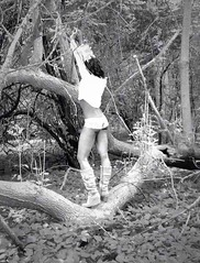 image (naddy_davis) Tags: blackandwhite bw nature leaves pose outdoors photography model photoshoot legs boots modeling branches curves bum booty cheeks boudoir capture tress fit londonontario lengerie boudoirinspired