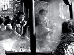 Patiently waiting (DameBoudicca) Tags: tokyo tokio  japan nippon nihon  japn japon giappone sensji sensoji  buddhisttemple buddhisttempel templosbudistas templesbouddhistes  tokugawa   temple tempel tempio templo buddhism buddhismus budismo bouddhisme buddhismo  incense rkelse weihrauch incienso encens incenso  smoke rk rauch humo fume fumo  man mann varn homme uomo