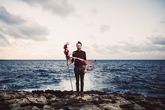 Impala Ray (Maegondo) Tags: travel blue sea musician man film nature water canon vintage outdoors spain rocks waves wanderlust rough splash mallorca eos6d