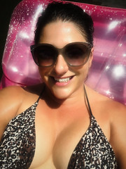Shawnelle Edit (agentsmj) Tags: woman lady outdoors hot sweaty sun tan wet sunglasses smile teeth beautiful sexy boobs chest bikini raft pool lips tits cute facial iphonography bewbs