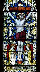 Abbey Dore Herefordshire - Ambulatory - Crucifixion Close-Up (David Cronin) Tags: glass mary stainedglass stained powell herefordshire cistercian crucifixion saintmary abbeydore