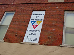 Knights of Pythias, Farmers City, IL (Robby Virus) Tags: farmercity illinois knights pythias kofp kenilworth lodge no 60 sign signage fraternal temple organization windows brick building