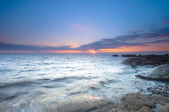 The Disappearing Sun (PeterYoung1.) Tags: atmospheric beautiful blue colours clouds landscape nature ocean peteryoung1 rocks scenic scotland sunset sea troon uk water