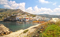 Sant' Angelo - Isola di Ischia (Italy) (Andrea Moscato) Tags: andreamoscato europe italia view vista vivid landscape paesaggio water acqua montagna mountain hill island beach sea seascape seashore spiaggia rock stones day sky clouds nuvole cielo green grass flowers blue white shadow paese borgo city citt case house nature natura