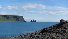 Reynisdrangar (Iris_14) Tags: iceland islande reynisdrangar dyrhlaey vk atlantic atlantique ocean water basalt stacks rocks clouds suurland