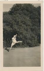 2016 Top 100 Countdown # 74: One-Footing It ---  Wot Goes Up . . . (mrwaterslide) Tags: girl buxom flying ballet dancing exalting soaring airborne peterpan snap snapshot old oldphoto vintage vernacular