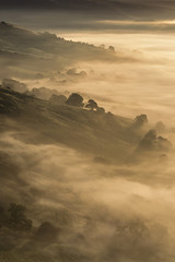 Rise and Shine! (Kathy ~ FineArt-Landscapes) Tags: mist light fog cloudinversion sunlight sunrise morning hills trees dreamy peakdistrict mamtor hopevalley