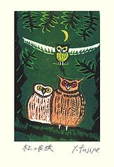 Ural owl, Eurasian eagle-owl and scops owl (Japanese Flower and Bird Art) Tags: bird ural owl strix uralensis strigidae eurasian eagleowl bubo scops otus yoshio fujiya modern woodblock print japan japanese art readercollection