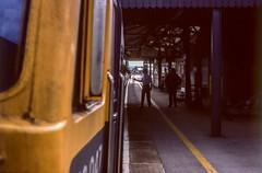 Moonraking (Nodding Pig) Tags: chippenham wiltshire railway station england greatbritain uk 1979 train token exchange class50 dieselelectric locomotive englishelectric type4 50047 swiftsure britishrail westernregion film scan transparency 35mm kodachrome64 pentaxsp1000 moonraker 4222r101