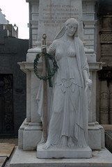 Woman holding sword - Tomb of a Army General (VinayakH) Tags: tombs tomb recoletacemetery recoleta larecoletacemetery cemetery buenosaires graves argentina latinamerica southamerica mausoleum artnouveau artdeco neogothic baroque architecture