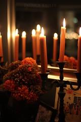 Halloween Altar 6 (BigSéance) Tags: halloweenaltar halloween candles candelabras flames candleflames candlesticks flowers orange candlelight vintage vintagehalloween mirror reflection halloweendecorations halloweendecorating