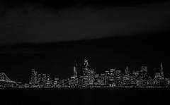 city 1016 (pbo31) Tags: sanfrancisco california nikon d810 night dark black october fall 2016 boury pbo31 city urban blackandwhite monochrome fog treasureisland bay baybridge 80 bridge skyline transamerica