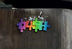 HH-Installations 1378 (cmdpirx) Tags: street urban color colour art public germany painting tile graffiti paint artist cd space raum kunst strasse glue hamburg kachel vinyl can spray installation lp marker push hh farbe kleber sealant kuenstler oeffentlicher styrocuts