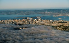 above the fog for once (Riex) Tags: sanfrancisco california city bridge fog landscape photography bay town inflight downtown aerial baybridge pont paysage sfba brouillard birdseyeview ville californie baie envol g7x
