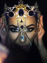 Blue Velvet (eset is) Tags: blue art fashion portraits diamonds photography chains model culture makeup jewelry editorial crown custom headpiece