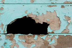Chipped Blue Paint (hpaich) Tags: wood old blue paint hole decay age chip aged chipped