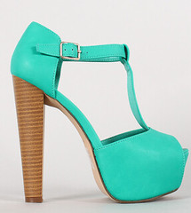"leatherette buckle t strap peep toe aqua • <a style=""font-size:0.8em;"" href=""http://www.flickr.com/photos/64360322@N06/16350673162/"" target=""_blank"">View on Flickr</a>"