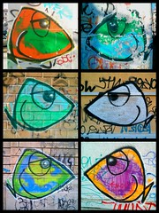 Pesci di citt (Matteo Bersani) Tags: fish muro mobile graffiti paint strada italia milano cellulare pesci writer disegno streetphotograpy cittstudi nexus4
