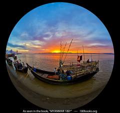 Boats and Sunset at Mawlamyine, Myanmar (1800books) Tags: travel book burma myanmar fisheyelens mawlamyine boatsandsunset 180books georgeedwardgiunca myanmar180book