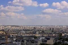 High Above Paris (oxfordblues84) Tags: city roof sky paris france building architecture clouds buildings europe rooftops bluesky montmartre frencharchitecture roadscholar roadscholartour roadscholarfieldtrip