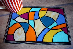 art stained glass mug rug (3patch) Tags: glass stained applique artquilt mugrug