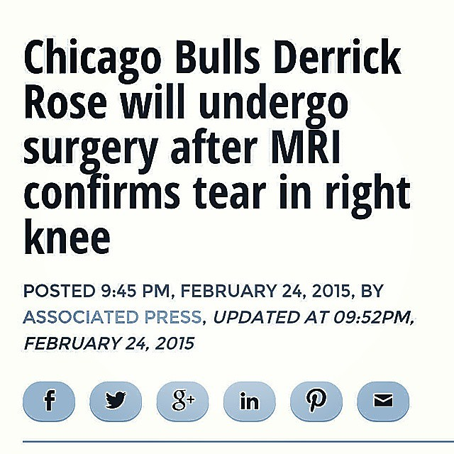 DERRICK ROSE is out for remaining of the 2015 NBA Season with knee injury  #GetWellSoon #DerrickRose #NBA #Basketball