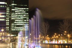 Lighting Fountains (MIDU PHOTO) Tags: madrid longexposure water fountain canon lights luces agua fuente ctba largaexposicin paseodelacastellana cuatrotorres eurostarsmadridtower eos1100d