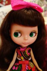 Green Eyes for St. Patrick's Day! (Primrose Princess) Tags: vintage bigeyes mod doll retro kenner blythe vintageclothing retrodress 1972kennerblythedoll chunkybangedbrunettekenner