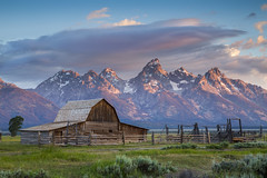 Barn at Mormon Row With Grand Teton as Background - Sunrise (Xiang&Jie) Tags: grandtetonnationalpark grand teton barn mormon row mormonrow grandteton sunrise mountain landscape grassland cloud cloudy