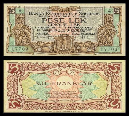 (ALF3a) 1926 Albania, Banka Kombëtare e Shqipnis, Five Gold Francs (A/R)...