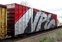 whole car npe (Hank Rogers) Tags: pa pennsylvania avoca train rr railroad art graffiti paint painting painted wholecar endtoend toptobottom wholeside npe red silver black colors tr110090 tr11009 spraypaint spraypainted