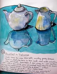 Tea at Triabunna (Evelyn Bach) Tags: stilllife sketch cafe tea sketchbook watercolour teapots brushpen