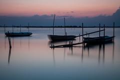 La Nina, la Pinta e la Santa Maria (martingabrielle) Tags: portocaleri tramonti deltadelpo acqua barche martingabrielle azzurro cielo nuvole riflessi orizzonte 5dmarkii canon