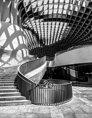 Metropol curves (grbush) Tags: bw monochrome architecture stairs blackwhite sevilla spain shadows curves steps olympus seville panasonic railing g3 lumixg metropolparasol olympusm918mm