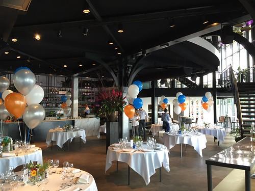 Tafeldecoratie 5ballonnen The Boathouse Rotterdam