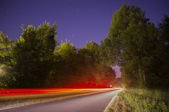 Toward the Stars (Moustafa Kzaiha) Tags: france highway light car longexposure lighttrail road night stars sky movement europe sony ilce7 outdoor travel red going