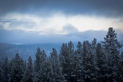 First Snow of the 2014-2015 winter season at Snow Summit in Big Bear Lake, California.