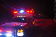 Setting Moon over Red Lights (Stretcher Monkey Photography) Tags: rescue moon night lights ambulance rig paramedic ems emt redlights emergencymedicalservices