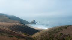 Fog shrouds the California Coast (Photosuze) Tags: ocean california mist beach fog landscape rocks surf hills marincounty ptreyesnationalseashore
