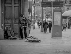 Saxophone (chrispenfold) Tags: street city nottingham music sunday performance entertainer busker performer saxophone nottinghamshire saxophonist notts