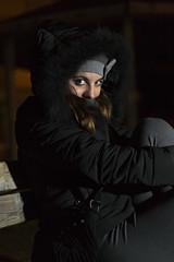Catrin (giuseppecampione) Tags: street portrait parco cold beautiful beauty lens 50mm model eyes nikon flash occhi sorriso nikkor mode ritratto freddo luce bari afs sciarpa panchina modella cappotto yongnuo nikond3100 yn560iii