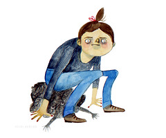 Sitting on Depression (Heidi Burton / Making Strangers) Tags: blue art illustration watercolor painting sitting drawing depression watercolour anxiety mentalhealth hairbun mentalillness squashing watercolourpainting contemporaryillustration