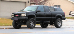 '90s GMC 4X4 (Eyellgeteven) Tags: old black classic chevrolet truck vintage gm 4x4 pickup pickuptruck chevy vehicle modified gmc 1990s madeinusa americanmade fourwheeldrive lifted chev generalmotors 12ton generalmotorscorporation extendedcab k1500 eyellgeteven