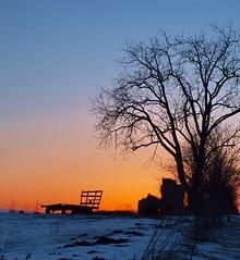 Hay and Wagon (nelhiebelv) Tags: winter sunset snow wagon hay cloudsstormssunsetssunrises