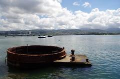 USS Arizona (sarowen) Tags: sky clouds hawaii oahu bluesky pearlharbor honolulu ussarizona whiteclouds ussarizonamemorial honoluluhawaii honluluhi wwiivalorinthepacificnationalmonument