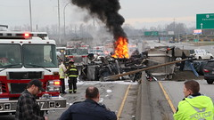 Dump Truck Explodes After Rolling Over on Highway (bcfiretrucks) Tags: road new canada news water westminster vancouver truck dead death major george highway bc crash accident smoke flames engine police dump tunnel delta columbia richmond hose 99 freeway trunk british rcmp tandem incident firefighter ladner rollover divided fatal massey hwy99 fatality