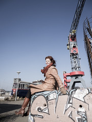Hanneke, Amsterdam 2015: Between a tram and a crane (mdiepraam) Tags: portrait woman girl beautiful dutch amsterdam leather lady scarf docks hotel pretty industrial boots harbour crane gorgeous coat tram curls tights skirt redhead mature attractive elegant milf hanneke classy noord 2015 fortysomething ndsmwerf naturalglamour urbexglamour farlanda
