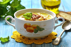 Potato cream soup. (lilechka75) Tags: blue winter food hot dinner french bread recipe table cuisine soup wooden leaf bacon mashed fat cream olive ham vegetable meat potato german slice oil basil onion fried broth herb thick warming puree smoked calories caramelised caramelized